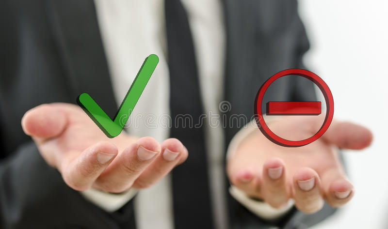 Decision making. Closeup of businessman making decision whether to accept or deny a suggestion or employee stock photography