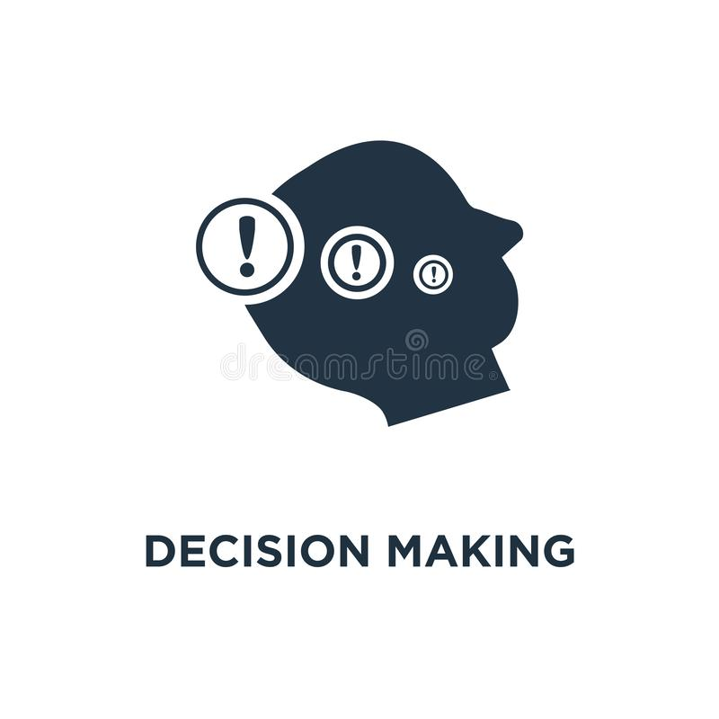 decision making icon. difficult choice, neurology concept symbol design, moral dilemma, philosophy thinker, behavior science, vector illustration