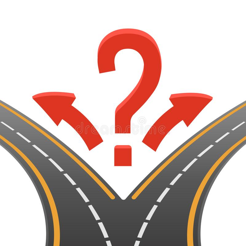 Decision making image of two roads on vector illustration. Decision making poster representing image of two roads with different and opposite direction, question stock illustration