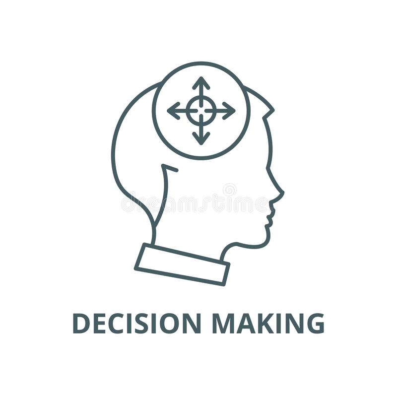 Decision making line icon, vector. Decision making outline sign, concept symbol, flat illustration. Decision making line icon, vector. Decision making outline stock illustration