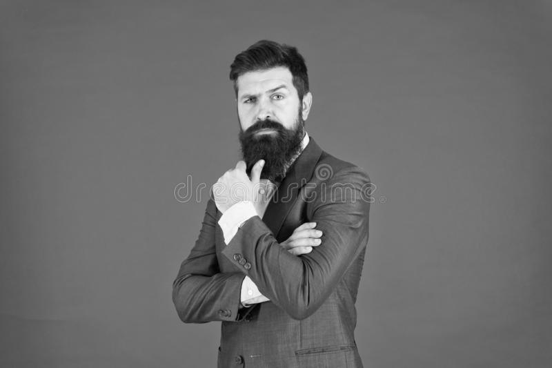 Decision making is part of management. Mental process of choosing from set of alternatives. Hard decision. Business. Decision. Man bearded businessman royalty free stock photo