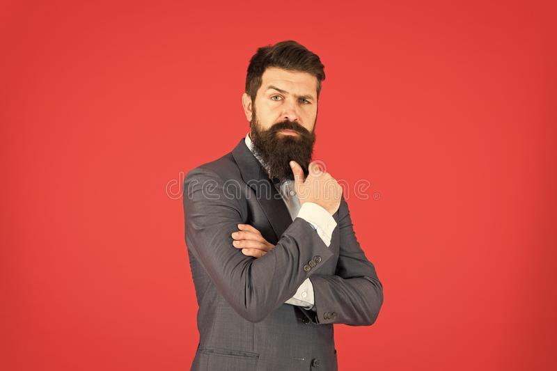 Decision making is part of management. Mental process of choosing from set of alternatives. Hard decision. Business. Decision. Man bearded businessman royalty free stock photography