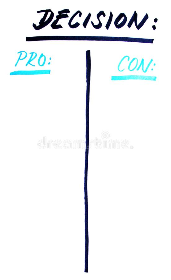 Decision making strategy. Sketch for making decision. Pros and cons vector illustration