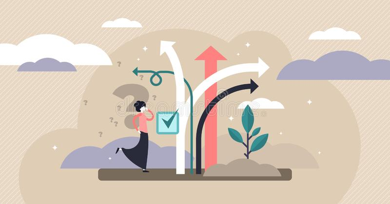 Decision making vector illustration. Tiny choose options persons concept. Decision making vector illustration. Flat tiny choose options person concept. Career royalty free illustration