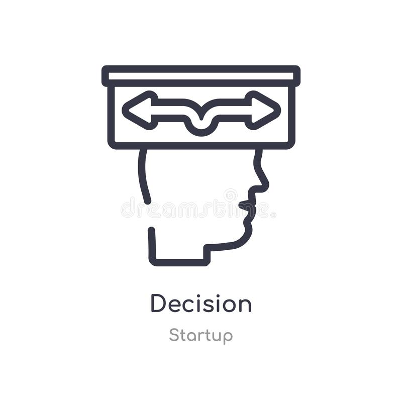 Decision outline icon. isolated line vector illustration from startup collection. editable thin stroke decision icon on white. Background stock illustration