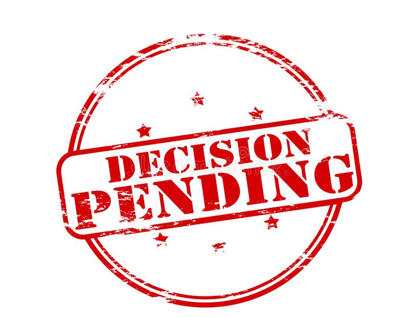Decision pending. Rubber stamp with text decision pending inside, illustration stock illustration