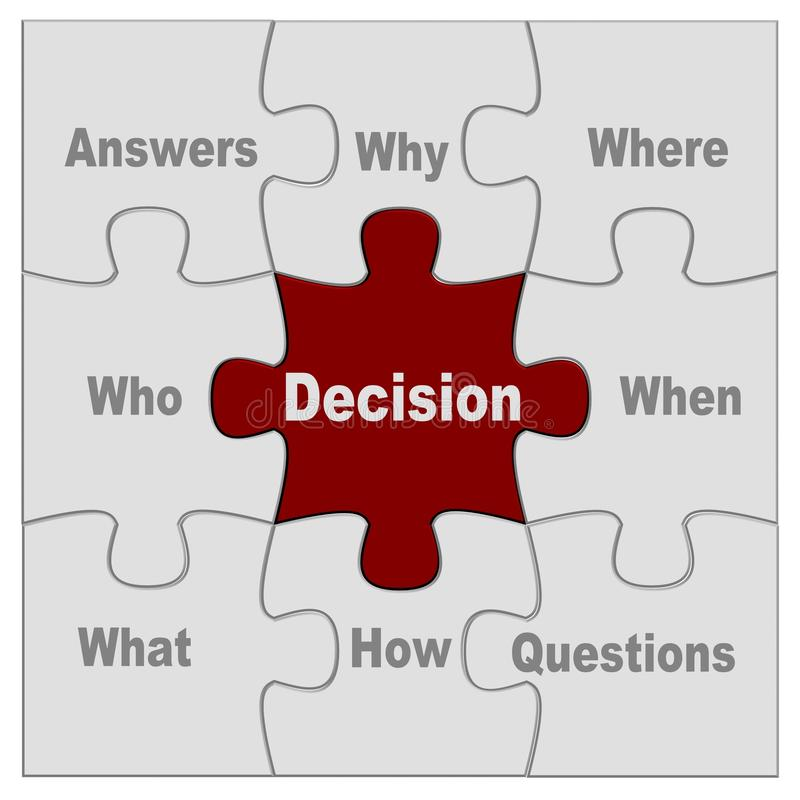 Decision puzzle stock image