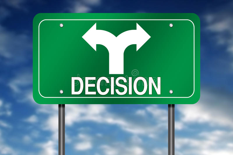 Decision sign. Illustration of decision sign with arrows pointing in opposite directions, blue sky and cloudscape background vector illustration
