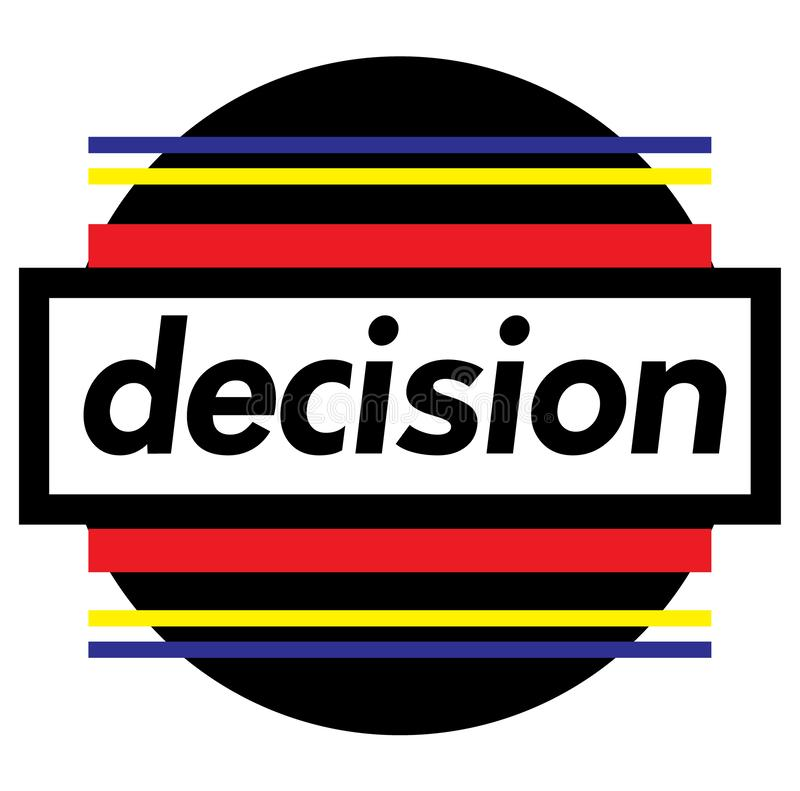 DECISION stamp on white. Background. Labels and stamps series vector illustration
