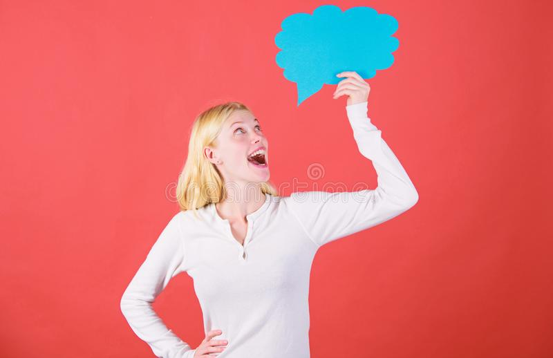 Decision and thoughts copy space. Girl with speech bubble. Thoughts of surprised adorable woman. Decision and solution. Solve problem. What is on her mind royalty free stock images