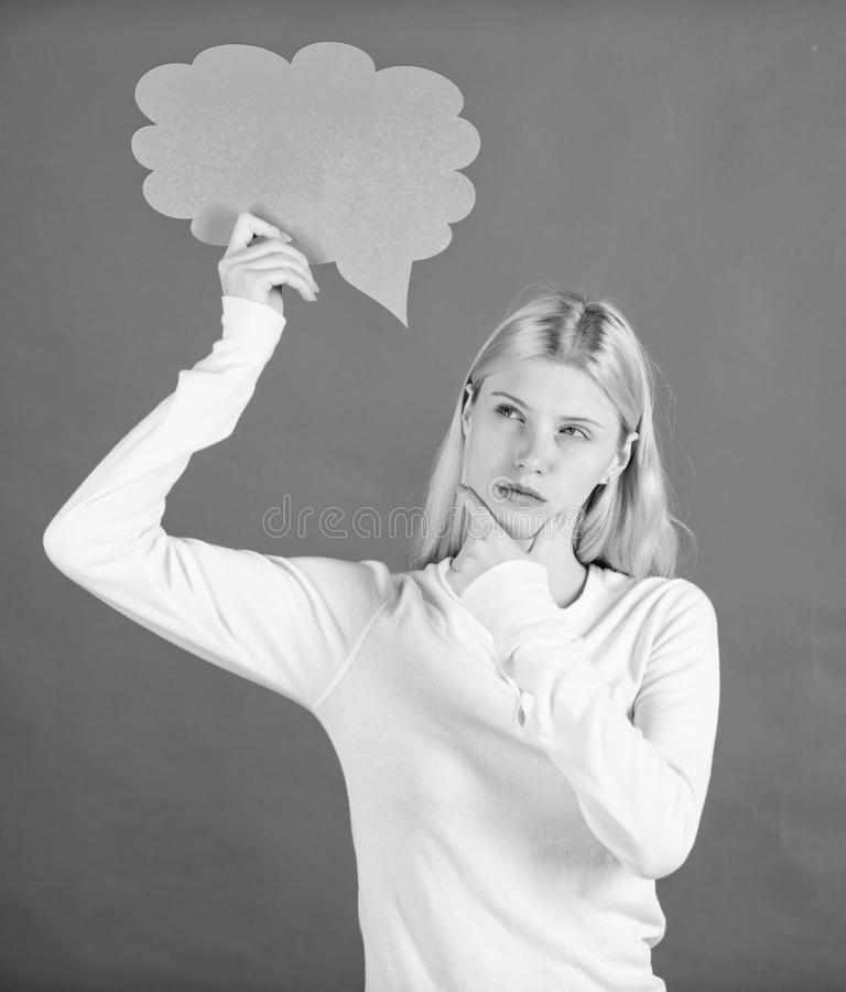 Decision and thoughts copy space. Girl with speech bubble. Thoughts of thoughtful adorable woman. Decision and solution stock photo