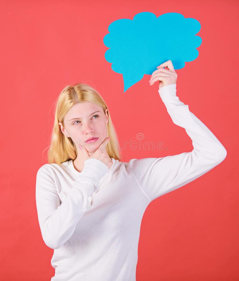 Decision and thoughts copy space. Girl with speech bubble. Thoughts of thoughtful adorable woman. Decision and solution stock image