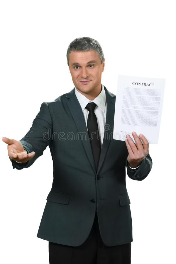 The decision is yours. Businessman and his document. The decision is yours. Adult man presents great opportunity. Chance of a lifetime stock photos