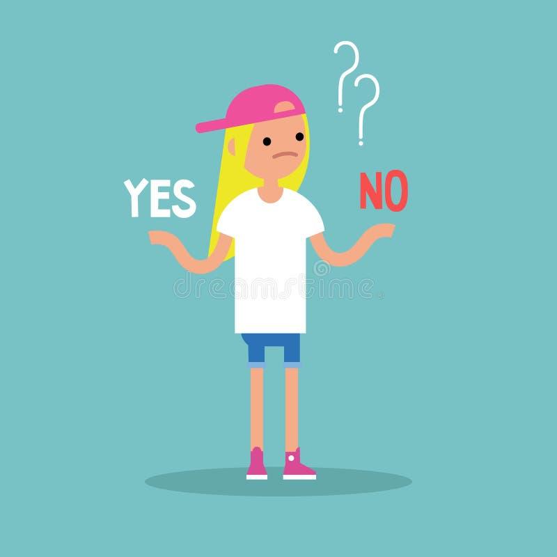 Decisione difficile Sì o questionario di no Illustrazione concettuale illustrazione di stock