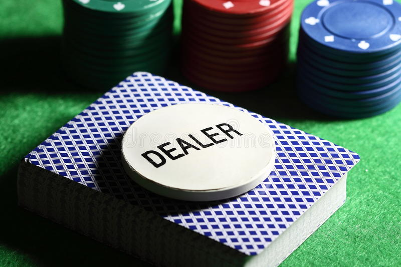 Download Deck of cards with chips stock image. Image of green - 17624885