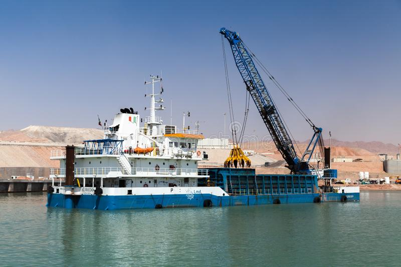 Deck cargo ship Alfredo works in port royalty free stock image