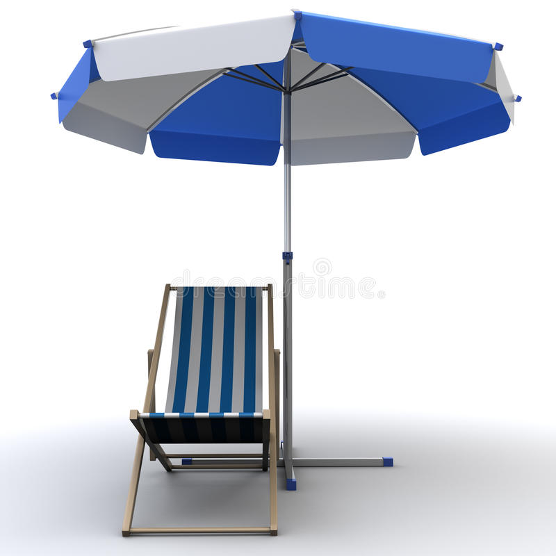 Deck chair. 3d illustration of deck chair vector illustration
