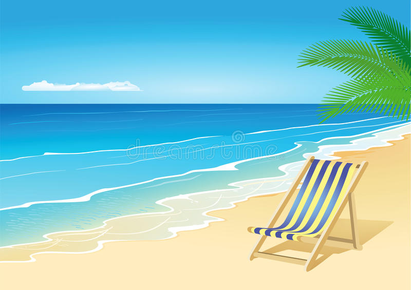 Deck chair on beach by sea. Illustration of deck chair on beach by sea with palm tree in background stock illustration