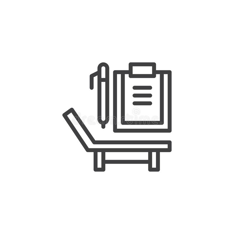 Deck chair, paper clipboard and pen line icon royalty free illustration