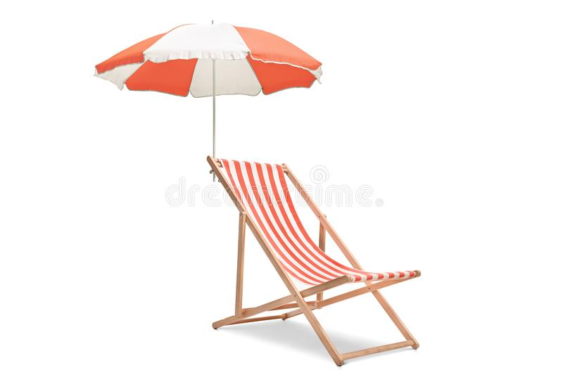 Deck chair with an umbrella. Isolated on white background royalty free stock photos