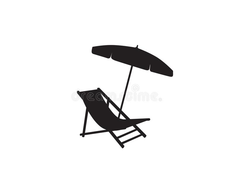 Deck chair umbrella summer beach holiday symbol icon. Deckchair umbrella summer beach holiday symbol silhouette. Chaise longue, parasol icon isolated. Sunbath stock illustration