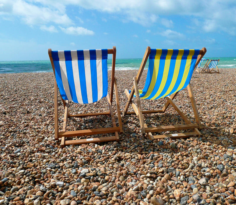 Download Deck Chairs On Brighton Beach, UK Royalty Free Stock Photos - Image: 20664468