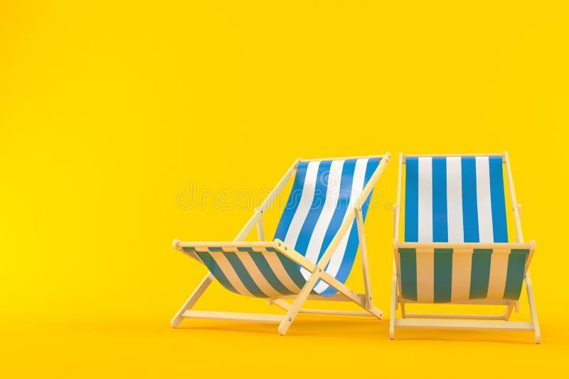 Deck chairs. On orange background royalty free illustration