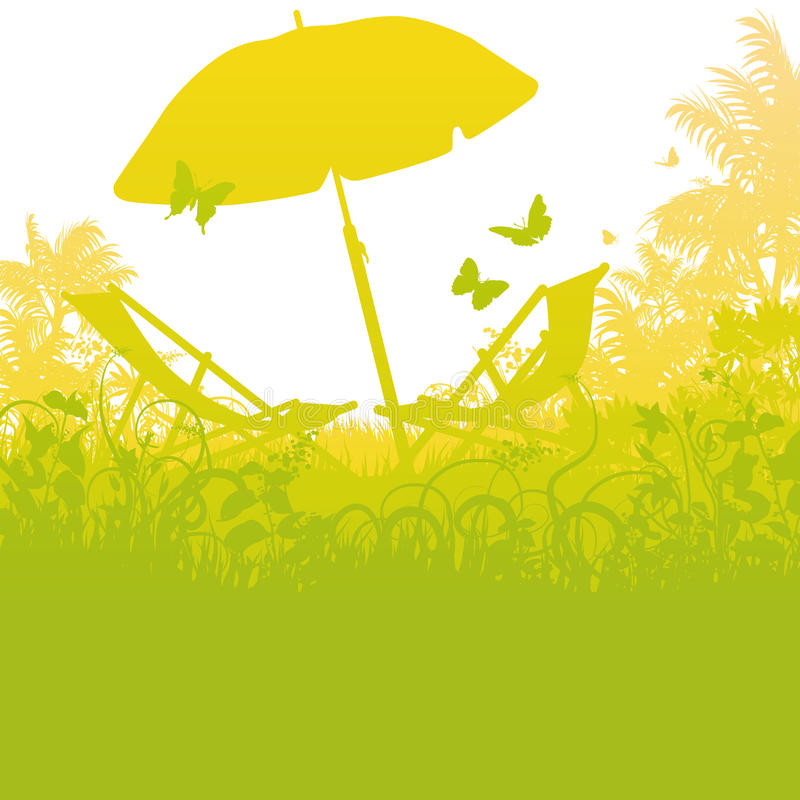 Deck chairs with umbrella in the palm garden royalty free illustration