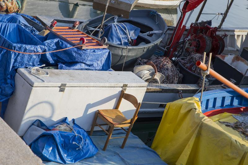 Deck of fishing boat or trawler royalty free stock images