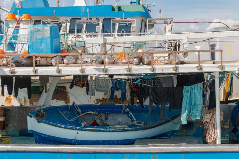 Deck of a fishing ship, Cyprus, Limassol royalty free stock images