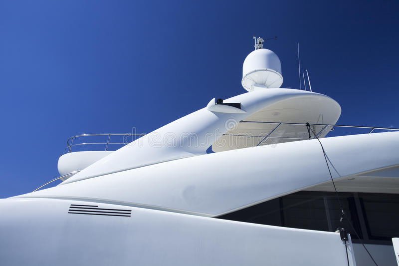 Deck head of a super yacht. Top deck of a super yacht stock photo
