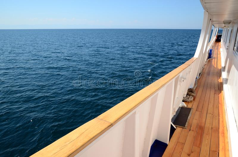 Deck passenger tourist ship Lake Baikal water. Deck of passenger tourist ship on Lake Baikal water in sunny day royalty free stock images