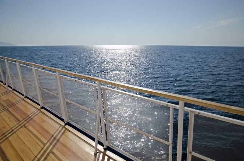 Deck passenger tourist ship Lake Baikal water. Deck of passenger tourist ship on Lake Baikal water in sunny day royalty free stock photos