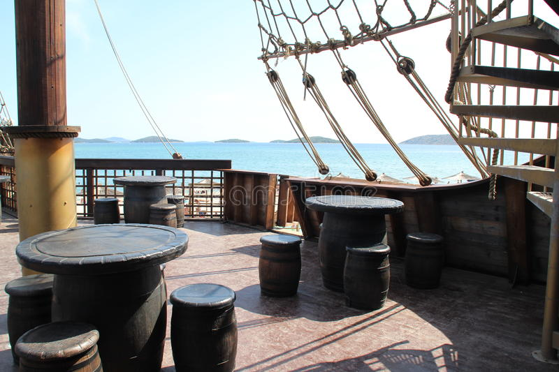 The deck of a pirate ship stock photography