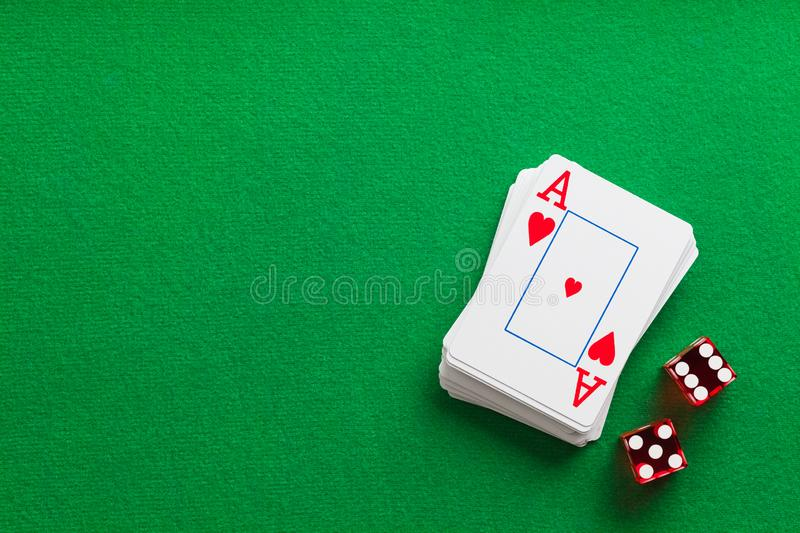 Deck of Cards with Dice stock photo