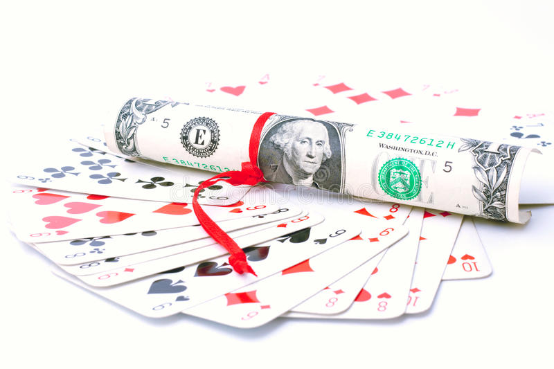 Download A Deck Of Playing Cards And One Dollar Bill Stock Photo - Image: 27178028