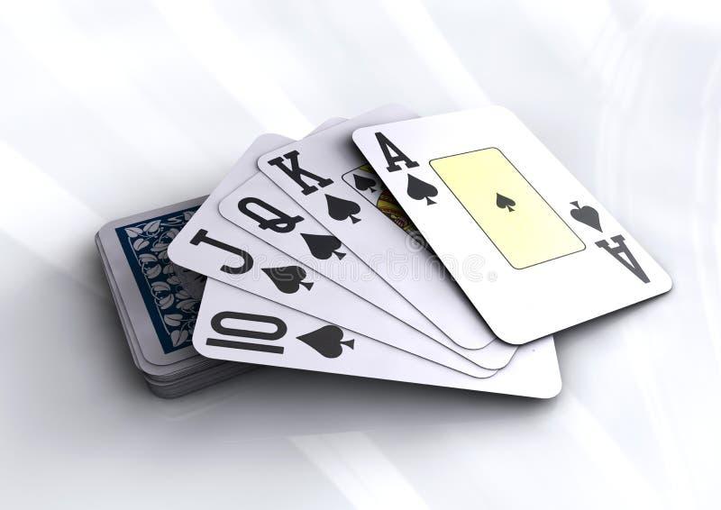 Deck of poker cards revealing royal flush hand royalty free illustration