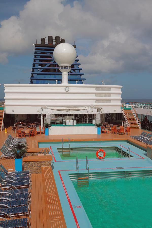 Deck and pools on cruise liner. Bridgetown, Barbados. 07-11-2017 stock photos