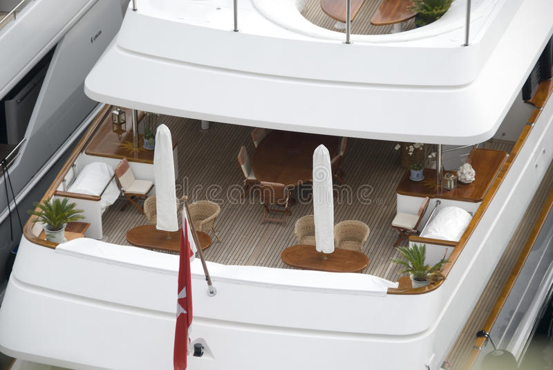 Deck of private yacht royalty free stock photography