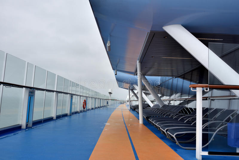 Deck and rest area lounges on big cruise stock photography