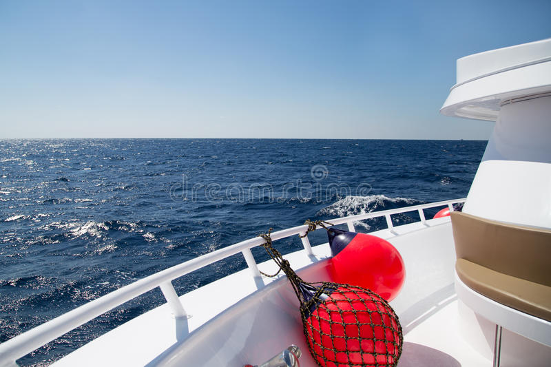 The deck of the ship floating in the sea royalty free stock photography