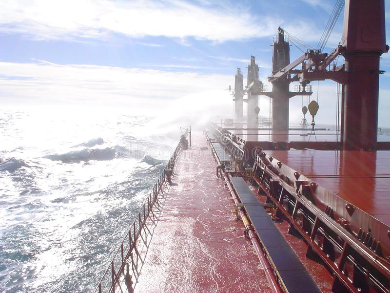 Download Deck of a ship in a storm editorial image. Image of iron - 28675895