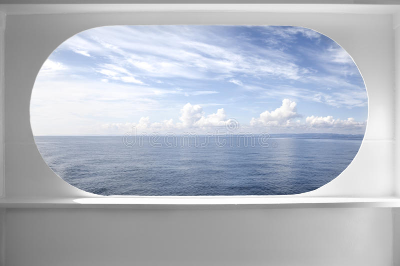 Deck ship window. With a relaxing seascape view royalty free stock photos