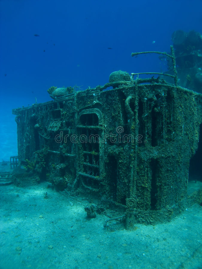 Deck of a Sunken Ship. Deck of the sunken ship Tibbits in Cayman Brac royalty free stock photo