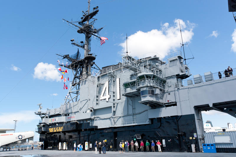 Deck and tower of the Aircraft carrier Midway as a museum of U stock image
