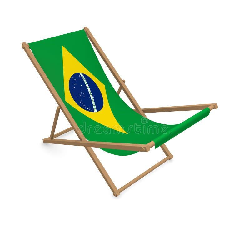 Deckchair с флагом или Бразилией иллюстрация штока