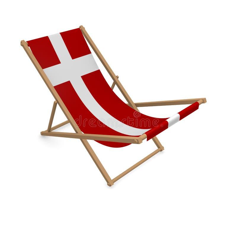 Deckchair с флагом или Данией иллюстрация вектора