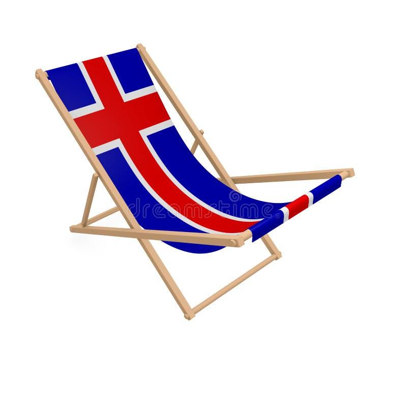 Deckchair с флагом или Исландией иллюстрация штока