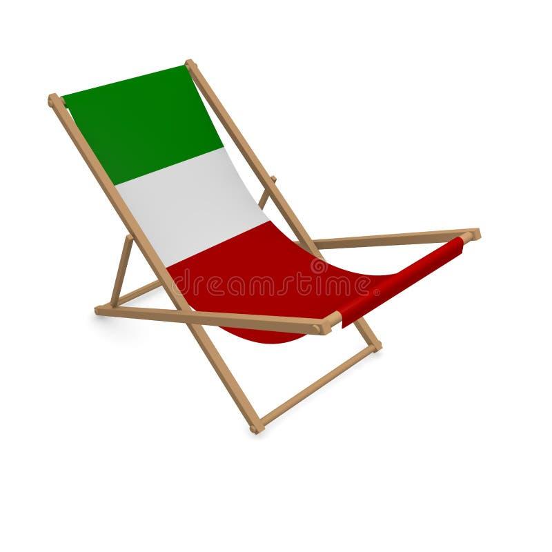 Deckchair с флагом или Италией иллюстрация вектора