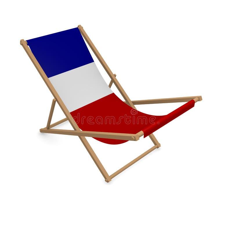 Deckchair с флагом или Францией иллюстрация вектора